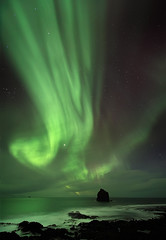Solar Storm - Reykjanesviti, Iceland (orvaratli) Tags: ocean winter sea sky sun lake storm green ice weather landscape photography solar iceland astro arctic aurora solarwind reykjanes magnetic northernlights auroraborealis pinnacle borealis reykjanesviti arcticphoto