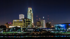 omaha skyline - riverfront (laughlinc) Tags: city reflection water skyline night nebraska cityscape widescreen omaha 169 lr4 nikond80 18135mmf3556 thechallengefactory laughlinc lightroom4beta