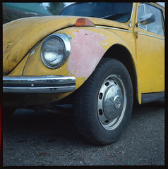 Yashica 44LM - First Roll through in Forty Years (KurtClark) Tags: usa baby lake color detail tlr film rollei truck volkswagen square lens us washington reflex flag beetle twin first pickup 127 crop wa dodge roll medium format yashica bellevue issaquah obsolete 127film iso160 yashica44lm 44lm bluefiremurano160