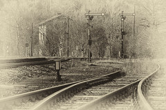 Gleise Kerkerbach 2012 (Bluespete) Tags: bw sepia vintage railway bahnhof kerkerbach limburgbahn