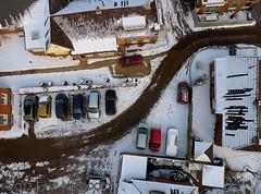 The road to church in Enumatil (KAPturer) Tags: winter snow kite holland ice netherlands dutch canal sneeuw nederland aerial fromabove kap groningen leek birdseyeview kiteaerialphotography luchtfoto ijs enumatil vanboven vlieger zuidhorn hoendiep vliegerfoto kapturer