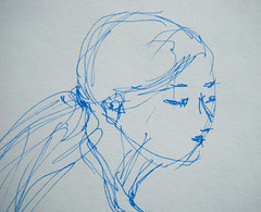 Five-Minute Sketch (Detail) from Feb. 8 Drawing Session (randubnick) Tags: art face head drawing painter sharpie penandink cutandpaste digitallymodified blueink