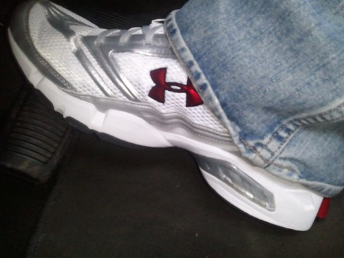 red white silver shoes sneakers jeans underarmour