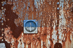 Rust Never Sleeps (Paul R Lamb) Tags: ca old blue white ontario canada junk rust paint scrapyard trailer scrap rockwood mcleans