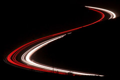 Car light trails (<Murray>) Tags: road red white night minimal lighttrails curve carlights