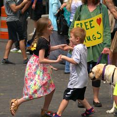 Free Hugs (swong95765) Tags: street boy people woman kids festive dance hugs giry