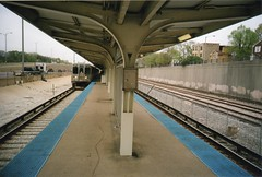 Oak Park Station (RW Sinclair) Tags: camera city blue urban color colour film analog train gold spring lomo lca lomography blueline kodak rail line april analogue 135 russian 32mm 2016 minitar