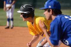 Waiting to steal 2nd (AppStateJay) Tags: game sport nc nikon baseball northcarolina away player runner base jv gryphons 2016 juniorvarsity cherryville d7100 tjca thomasjeffersonclassicalacademy