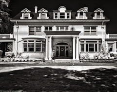 Waling Pat History (mjardeen) Tags: windows blackandwhite bw white black texture home contrast ir washington pattern exterior conversion sony 28mm lawn historic doorway infrared wa converted f2 tacoma fe curve toned 282 a7ii 720nm lifepixel niksilverefex a7m2 ilce7m2