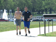 IMG_0631 (FOTOSinDC) Tags: shirtless man men muscles muscle candid handsome running sweaty sweat shorts jogging runner tee jogger