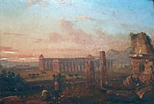 """Paestum"" (1825-1830) - Oil on paper glued on cardboard by Anton Sminck Pitloo (Arnhem 1790-Naples 1837) - Exhibition ""Paestum and Grand Tour"", at Castle of the Egg in Naples, until May 17, 2016, free entrance"