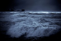 sea storm in Tel-Aviv beach (Lior. L) Tags: travel sea blackandwhite storm beach nature monochrome telaviv blizzard powerfulnature