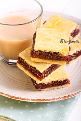 Fig bars and coffee (manyakotic) Tags: cakes coffee fruit breakfast bars fig squares many homemade pile snack pastry brunch treat jam latte cappuccino bake slices filling