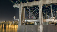 BRIDGE UNDERSTRUCTURE-51360- (Terry Frederic) Tags: longexposure usa night oregon photoshop portland bridges rivers riverscape canon5dmkiii terryfrederic topazadjust5processed topazrestyle topazdenoiseprocessed lightroom65processed