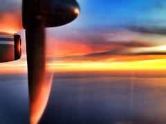 Fiery Sunset over Lake Ontario (@ThetaState) Tags: november blue sunset red toronto ontario canada clouds gold lakeontario propeller 2011 digitalcameraclub porterairline