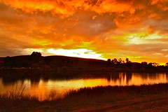 Sky of Sunset (Liping Photo) Tags: park county sunset mountain lake color reflection wool ed golden sandy levin canont2i