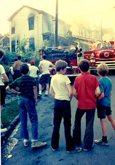 Fire on Dilworth Street c.1971 (captainpandapants) Tags: city woman house men home boys kids truck children fire lights downtown pittsburgh pennsylvania smoke places hose grill firetruck pa burn firemen ladder 1970s siren bystanders burningtown buildingtypes