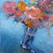 Flowers on Blue Table