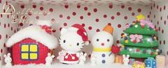 Merry X'mas & Hello Kitty (charles fukuyama) Tags: snow cute rabbit bunny snowman handmade hellokitty kitty christmastree custom sculpted merryxmas seasonsgreeting claydoll