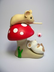 Fishing for Cupcakes (Quernus Crafts) Tags: mouse fishing mice cupcake toadstool polymerclayquernuscraftscute