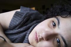 Grey Day 10 (Jessica Lowenstein) Tags: portrait selfportrait me self grey sweater eyes december gray naturallight lips indoors curly rainy nosering browneyes day10 curlyhair windowsill darkeyes