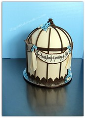 Vintage Birdcage Baby Shower Cake (Elegant Cake Creations AZ) Tags: blue arizona brown phoenix ivory explore elegant babyshower babyboy vintagefeel customcakes birdcagecake beautifulbirdcage