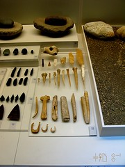 Stone and bone tools from the Franchthi Cave, at the Nafplion museum, April 2011