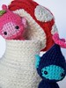 Mushroom House with Garden Sprites (Things of String) Tags: house mushroom animal garden children toy crochet sprite amigurumi