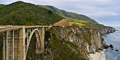 Impressions of America: A Roadtrip. Day 19 (derboti) Tags: ocean california road bridge blue sky cliff usa green nature water unitedstates pacific hill roadtrip pch highway1 pacificocean carmel fields moutain bixby pacificcoasthighway bixbycreekbridge ca1 californiastateroute1 cabrillohighway bixbycanyonbridge