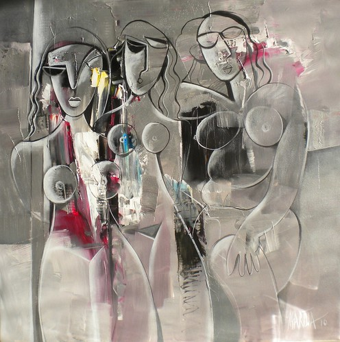 Silver Ladies - Painting - Abstract