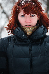 My tired Snow Queen) (Artie Medvedev) Tags: winter portrait white snow cold girl canon eyes bokeh redhead tired jaket 55250 t2i