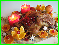 Happy Christmas....Orange roast goose filled with cherries....a wonderful holiday for my dear friends ! (Colliefan) Tags: christmas winter red portrait food orange holiday color rot love colors fruits beautiful natal germany weihnachten stars deutschland navidad photo duck yummy colorful flickr candles peace photographie christ frankfurt decoration noel frieden goose roast christian homemade jul multicolored natale colori kerstmis farben frchte kirschen zimtsterne frhliche festtag festmahl entenbraten colliefan