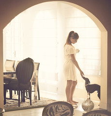 Good Morning, My Dear Friend (AnnuskA  - AnnA Theodora) Tags: light portrait woman dog greyhound white house feet home dress furniture blond barefoot brazilian backlit lovely zionn