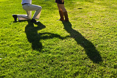 """The Shadow Said """"Yes"""" (Jill Clardy) Tags: grass matt photo engagement shoot shadows profile lawn sunny 100views his cac proposal kneeling hers shesaidyes shadowed betrothed proposing 7667 2011jillclardy flickrbingon45"""