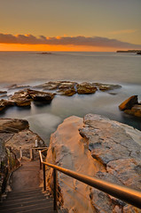 Stairs, Coogee (seathelight_fineart) Tags: longexposure morning sea sky cloud sun seascape beach nature water rock stairs sunrise landscape bath action horizon fineart smooth wave australia down railing goldenhour coogee headland waterscape 3x2 seathelight photosarchive25012012