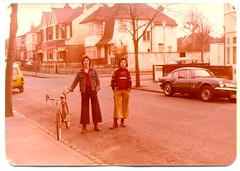 Boot Boys and bike 1976 (Paul-M-Wright) Tags: street uk england london fashion bike bicycle vintage photography boots unitedkingdom streetphotography teenagers teens style clothes teen tanktop 70s 1970s seventies 1976 drmartens dms paulwright bootboys