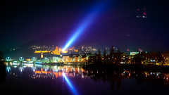 Light Beam (Shoeven) Tags: night lights beam arc lightbeam river heidelberg neckar bridge germany blue sky mountains odenwald forest hdr nikon long exposure tilt shift orange green trees water glow colors
