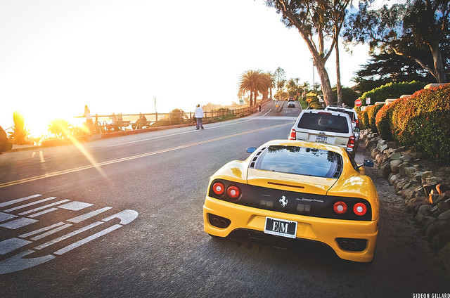california sunset italy beach 2004 yellow racecar italian glare 360 olympus ferrari racing giallo flare cs modena v8 rpm montecito horsepower trackday rwd challengestradale trackcar e520 ghgphotography