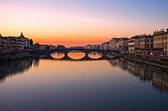 """Florence, sunset on Arno river"" (Then press L or click on photo) (pigianca) Tags: bridge sunset italy water landscape florence reflex italia tramonto fiume ponte tuscany firenze redsky arno toscana acqua riflessi palaces paesaggio palazzi riverarno ponteallacarraia cestello cielorosso fujix100 bridgecarraia"