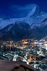 Sin City Zermatt Switzerland By Night (Maria_Globetrotter) Tags: snow night lights schweiz switzerland town january bynight clear zermatt matterhorn bluehour marias sincity 2012 armindoerr