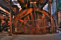 The Blowing Engine (the waterfallhunter) Tags: rust bigwheel hdr blastfurnace pigiron steelmill nationalhistoricsite birminghamalabama slossfurnaces hauntedplaces manufactoring blowingengine jerffersoncounty