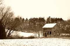 Vintage Winter (giantmike) Tags: old trees winter building rural vintage farm retro wi canonef100mmf28lmacroisusm