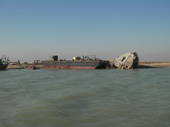 Shipwreck and former bridge head, Khor al-Zubair, Basrah, Iraq