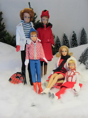 The Whole Gang at the Skating Pond (Foxy Belle) Tags: winter holiday snow cold ice its vintage fun outside doll cut skating barbie skipper flip skate blonde bubble sledding 16 tnt sled diorama breaker midge marlo foxybelle playscale