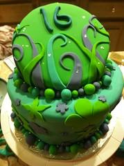 J's Sweet 16 - topsy turvy (Bakerbron) Tags: birthday cake dessert topsyturvy fondant