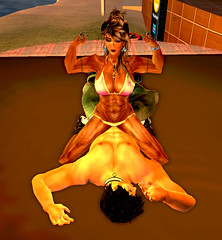 Mixed wrestling, victory (freyafit) Tags: muscles exercise wrestling bodybuilding secondlife weightlifting workout biceps fitness toning headscissors sexymusclegirl liftingweight sexyfitnessgirl