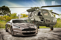Bond. James Bond. (anType) Tags: uk greatbritain sports car grey chopper asia unitedkingdom helicopter exotic malaysia british kualalumpur luxury coupe supercar bluejackets astonmartin sportscar jamesbond dbs v12 db9 worldcars westlandwasphas1 tungstensilver