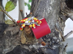 Red Leather Ring (Piedras Handcrafted Jewelry) Tags: leather beads handmade unique jewelry ring handcrafted