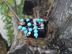 Black Leather Ring (Piedras Handcrafted Jewelry) Tags: leather beads handmade unique jewelry ring handcrafted
