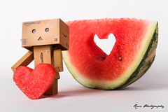 Love is a fruit in season at all times, and within reach of every hand. (italyraaz) Tags: canon toy photography robot watermelon danbo raaz 600d